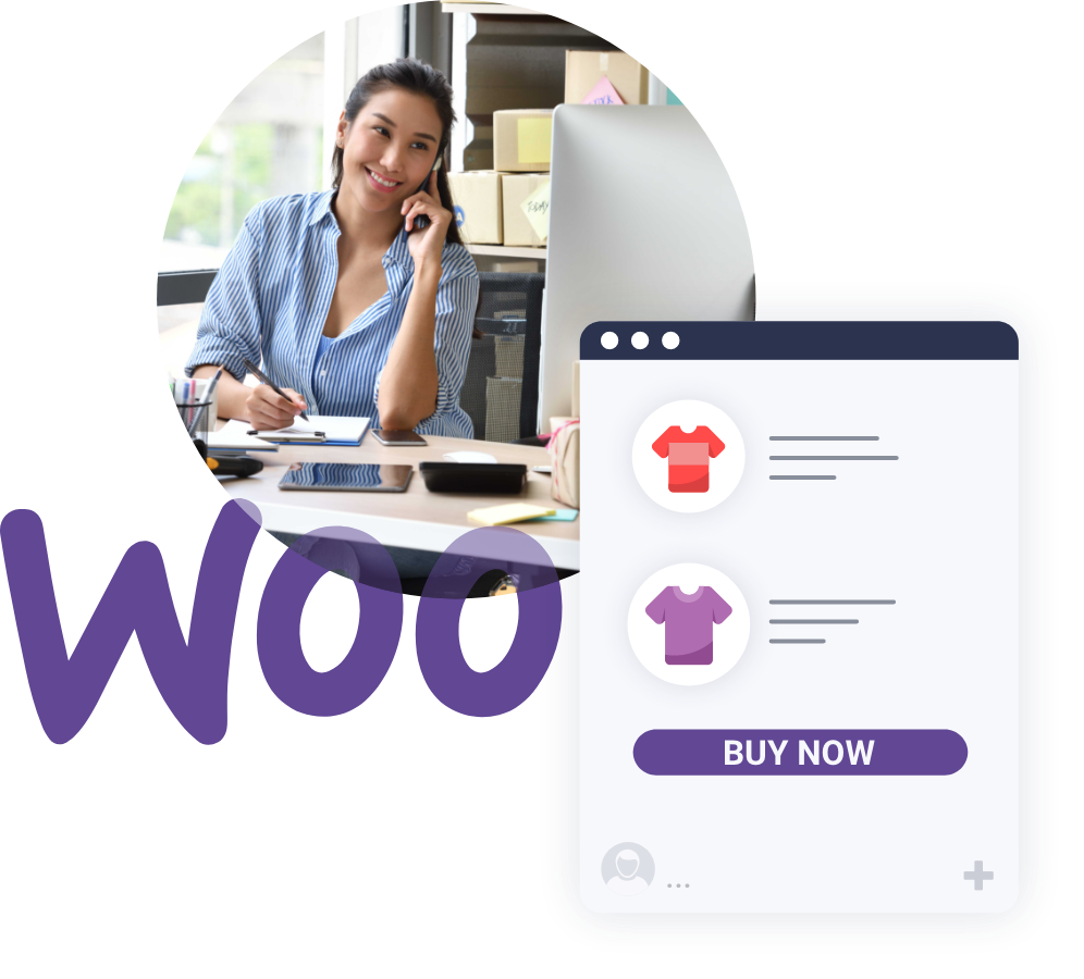 A woman selling items on WooCommerce store