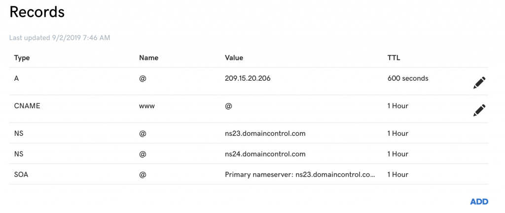 Example of DNS records.