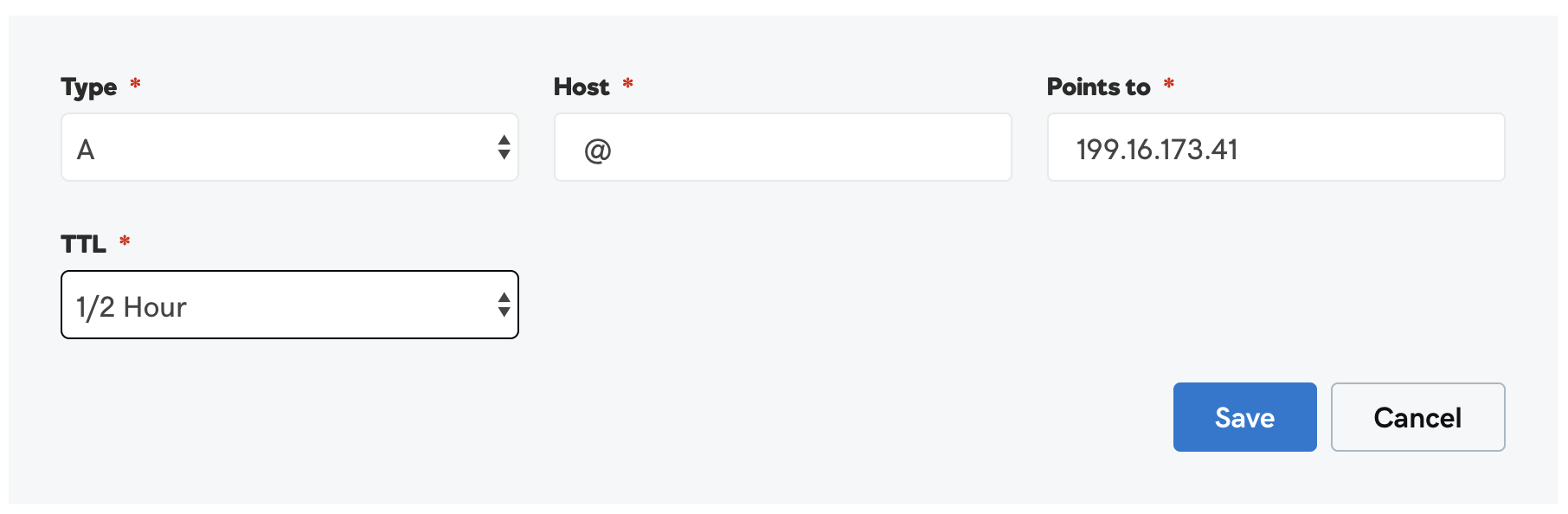A record settings for Pressable sites.