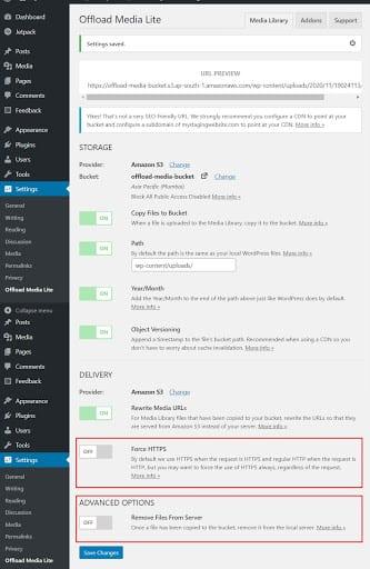 Adjusting the WP Offload Media Lite settings.