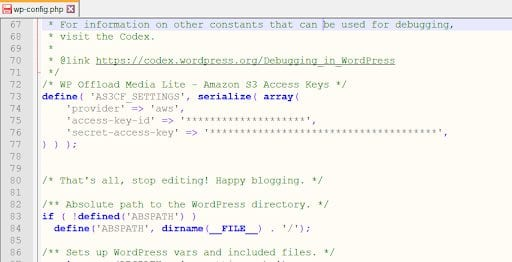 Viewing and editing the wp-config.php file.