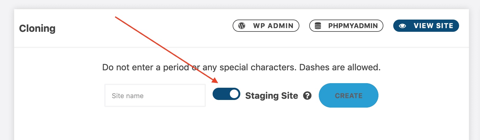 Settings for cloning a website as a staging site.
