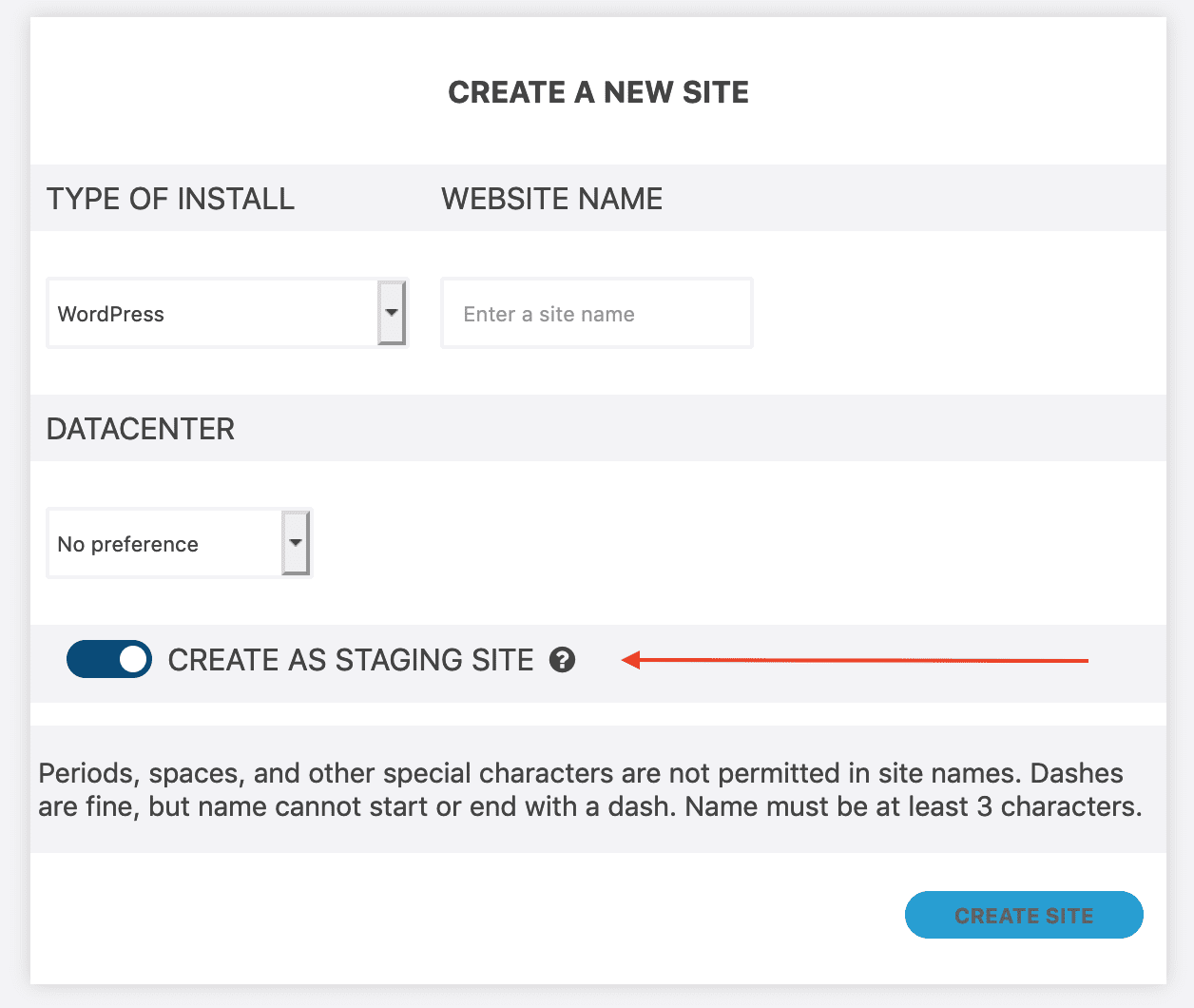 Option to create site as a staging site.