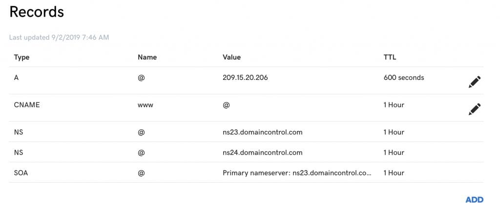 GoDaddy DNS records dashboard.