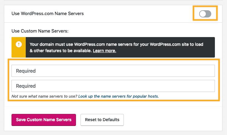 Saving your custom WordPress.com name servers information.